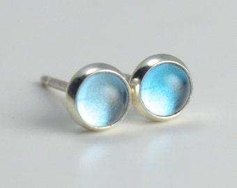 swiss blue topaz 4mm sterling silver stud earrings