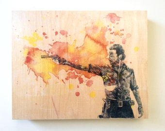 Wood Panel Rick Grimes from The Walking Dead Art Print from Original Watercolor Painting on Wood 8x10 The Walking Dead Print On Wood Panel