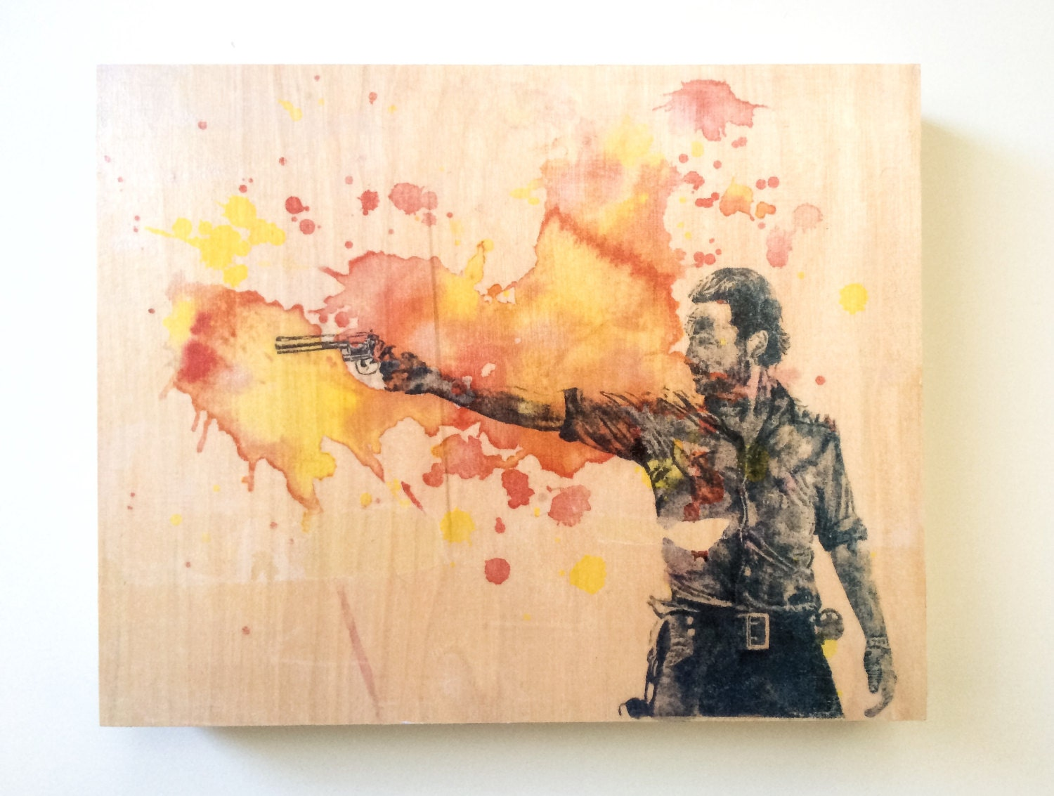 Wood panel rick grimes from the walking dead art print from - Wood panel artwork ...