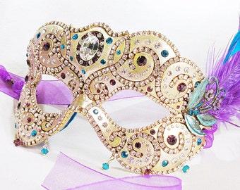 CUSTOM Teal and Purple Masquerade Ball Mask - Venetian Mask - Rhinestone Mask - Feather Mask - Purple Mask - Paper Mache Masquerade Mask