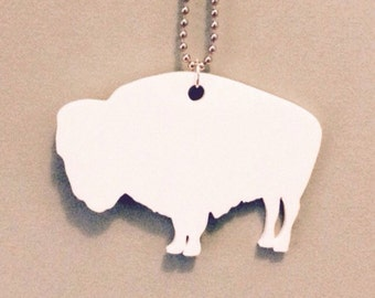Large Buffalo Necklace in White Lasercut Acrylic, Bison Necklace, Animal Shape Jewelry