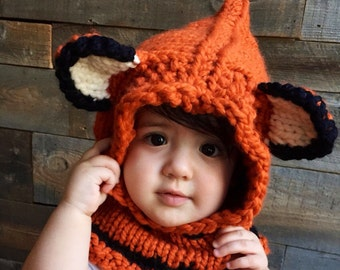 Kids Fox Hat, Kids Fall Winter Hat, Fox Hoodie, Knit Cowl Fox, Animal Hat with ears, Animal Cowl, Knitted Fox Hood, Unique Kids Gift
