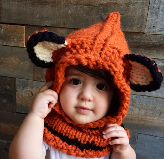 Knitting Pattern Hood With Ears : Kids Fox Hat Kids Fall Winter Hat Fox Hoodie Knit Cowl Fox