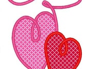 Two Hearts 2 Machine Embroidery Applique Design