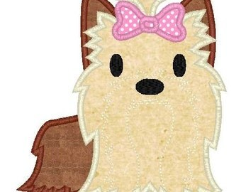 Yorkie Puppy Machine Embroidery Applique Design