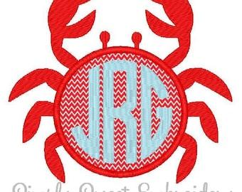 Crab Monogram Machine Embroidery Applique Design