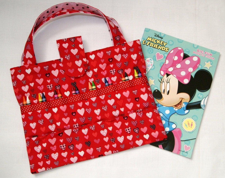 coloring book crayon bag red hearts crayon holder coloring book tote for - Coloring Book And Crayon Holder