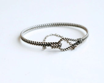 Vintage silver rope thin bangle / braided silver rope hook and eye bracelet