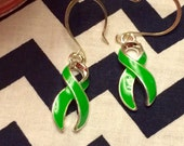 Lyme Disease Awareness Ribbon drop earrings