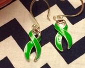 Lyme Disease Awareness Ribbon drop earrings