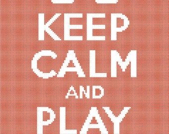 Keep Calm and Play Mahjong Cross Stitch Pattern Easy PDF