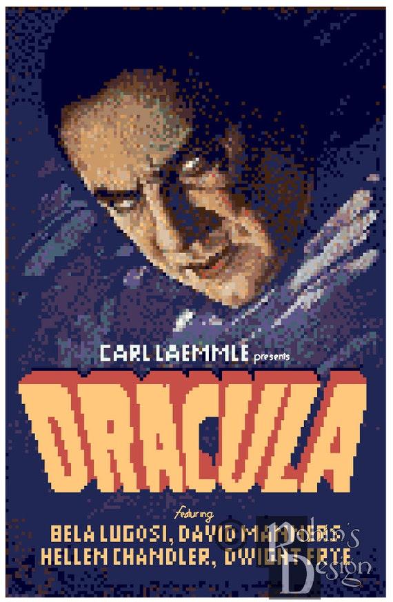 dracula movie poster cross stitch pattern pdf