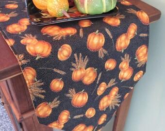 """Pumpkin Fall Harvest 72"""" Table Runner Reversible Pumpkin Table Runner Harvest Green Table Runner Autumn Table Runner Fall Table Decor"""