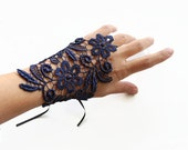 Navy Lace Wrist Corsage Charm, Hand Cuff, Fingerless Glove, Bridesmaids Jewelry Accessory Guipure Lace Evening Glove