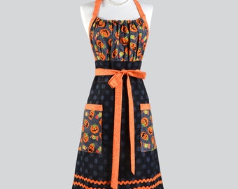 Cute Kitsch - Retro Chef Spooky Pumpkin Halloween Black and Orange Polka Dot with Large Pockets Holiday Kitchen Chef or Costume Apron