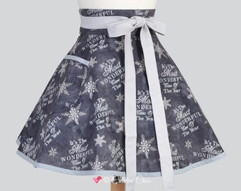 Womens Waist Aprons , Cute Flirty Full Skirt Retro Half Apron in Vintage Grey Christmas Snowflakes Cooking or Hostess Womans Apron
