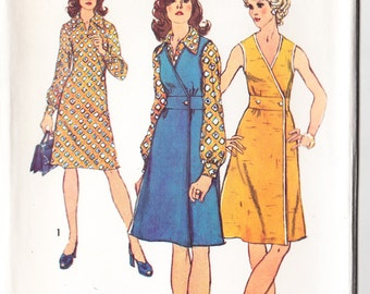 Vintage 1973 Simplicity 5578 UNCUT Sewing Pattern Misses' Dress and Jumper Size 14 Bust 36