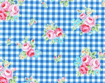 Flower Sugar 2015 Fall Collection Cotton Fabric Lecien 31270-77 Dark Blue Floral Gingham