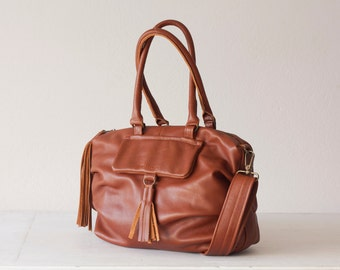 Crossbody bag brown leather, messenger purse handbag satchel bag shoulder bag  crossover bag - Ariadne bag