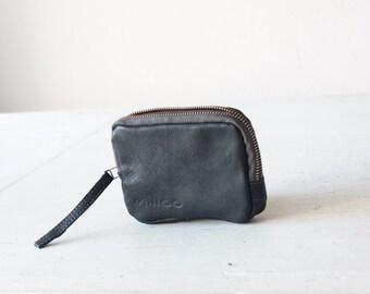 Zipper case blue leather, small coin purse zipper phone case minimalist credit card purse- The Myrto Zipper pouch