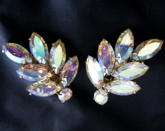 Stunning Vintage AB Rhinestone Clip Earrings Estate Firey AURORA BOREALIS