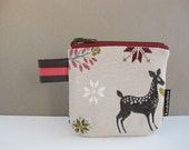 COIN purse zipper pouch in woodland jacquard with deer and christmas tree