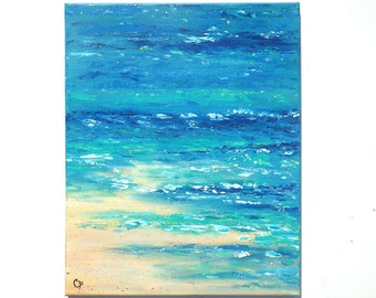 Beach painting of shoreline, beach foam, sand and waves, turquoise and blue 16x20 vertical beach painting