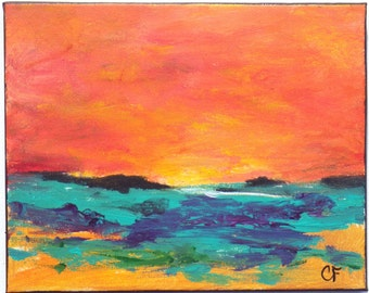 Colorful abstract landscape painting in aqua, orange, 8x10 landscape in acrylic and oil, bright and cheery
