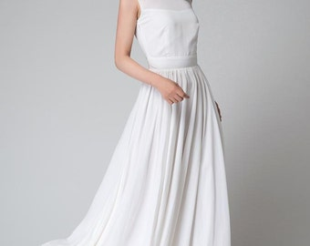 white dress, white chiffon dress, sleeveless dress, white maxi dress, illusion neckline dress, white Prom Dress,Bridesmaid Dress (1535)