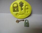 Set of 4 Locks and skeleton keys Designs Food Grade Silicone Molds