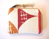 Tangerine Cranberry and Heather Small Coin Purse Zipper Pouch