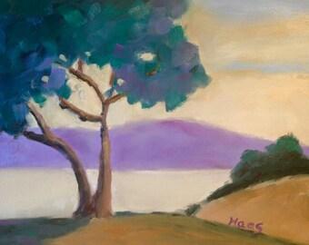 CARMEL - 8 x 10 - Monterey - Original - Art - Coastal - Cypress - Tree - Blue - California Landscape Painting - Cottage - Shabby Home Decor