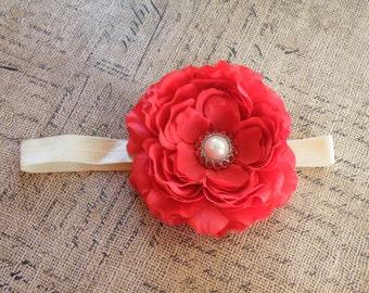 Red Flower Headband, Cream headband, Red Clippie, Infant headband, Flower Clippie, Flower Headband, Red headband