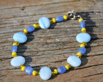 Blue and Yellow glass bead bracelet