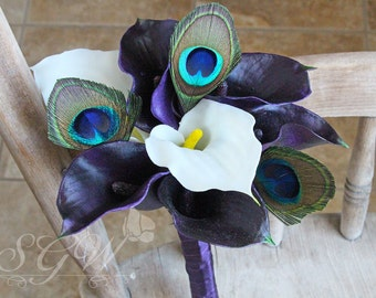 Custom Listing for Cassidy - Plum and White Calla Lily Peacock Bridesmaid Bouquets Set