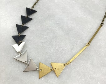 Mixed Metal Triangle Necklace | N21620