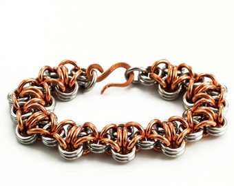 Uber Turtleback Stainless Steel and Copper Chainmaille Bracelet