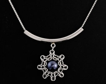 Celtic Eclipse Drop Pendant in Stainless Steel and Night Blue Swarovski Pearl