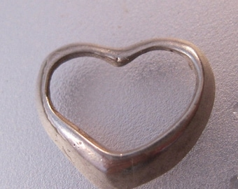 10% OFF SALE Open Heart Sliding Sterling Silver Charm Pendant Vintage Jewelry Jewellery