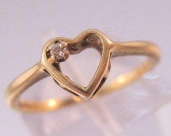 HALLOWEEN SALE Vintage Promise Ring 10k Diamond Heart Yellow Gold Size 6.25 Jewelry Jewellery