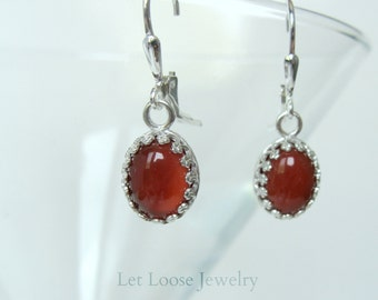 Carnelian earrings, genuine gemstones sterling silver, crown bezel set cabachons, leverbacks, short, Let Loose Jewelry, handmade, under 50