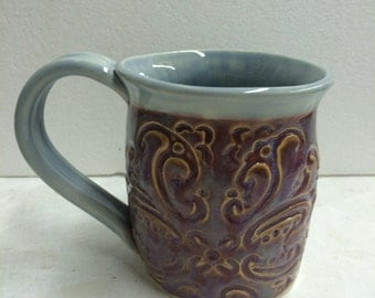 Plum and Baby Blue Texture Mug