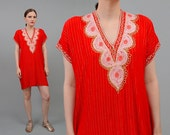 Vintage 70s Red Gauze Mini Dress - Metallic Embroidered Indian Tunic Boho Hippie Mini Dress - Small Medium S M