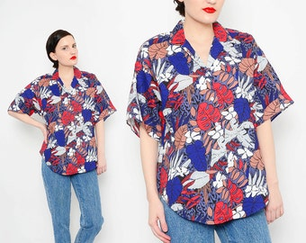 80s Hawaiian Print Shirt Tropical Jungle Leaves Cotton Top 1980s Short Sleeve Button Up Blouse Navy Red Small Medium S M