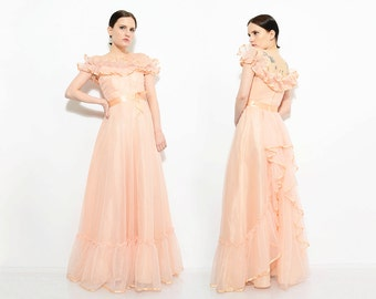 Vintage 70s Pastel Sheer Overlay Maxi Dress Ruffled Off Shoulder 1970s Romantic Boho Formal Prom Dress with Bustle Peach Pink Small XS S