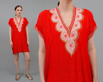 Vintage 70s 80s Red EMBROIDERED V Neck Tunic Boho Hippie India Gauze Mini Dress Metallic Gold Small Medium S M