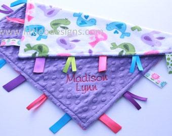 Personalized Lovey Baby Tag Blanket - Jewel Purple Minky with Tweet Tweet Bird Minky