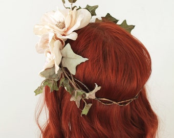 Floral bridal wreath, velvet floral crown, woodland hair crown, wedding headpieces, boho chic crown, floral circlet, ivory flower crown