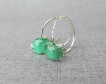 Shamrock Green Hoops, Small Silver Wire Hoops Green, Green Earrings, Green Hoops, Lampwork Hoop Earrings Green, Sterling Silver Earrings