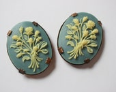 Vintage Flower Bouquet Cameos - Oxidized Brass Settings